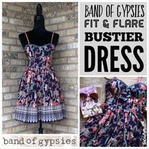 Band of Gypsies Boho Fit & Flare Bustier Dress